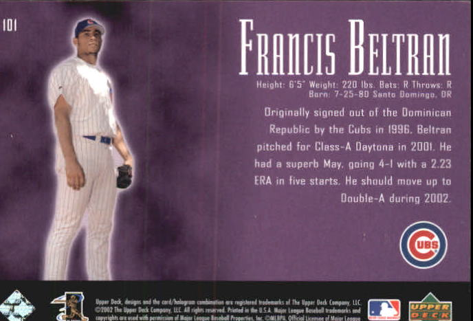 2002 UD Piece of History #101A Francis Beltran 21CP RC back image