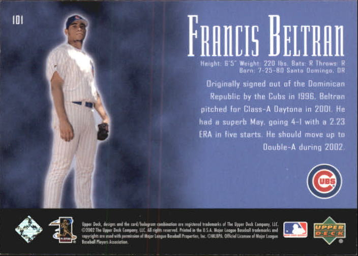 2002 UD Piece of History #101P Francis Beltran 21CP RC back image