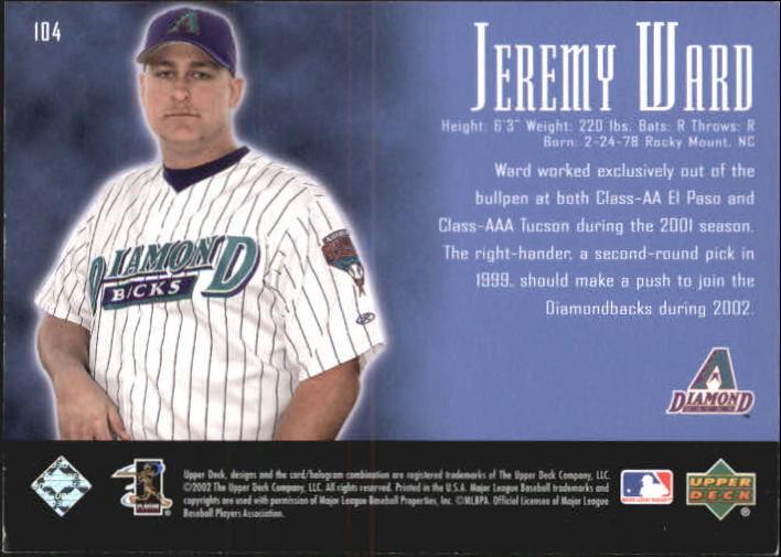 2002 UD Piece of History #104P Jeremy Ward 21CP RC back image