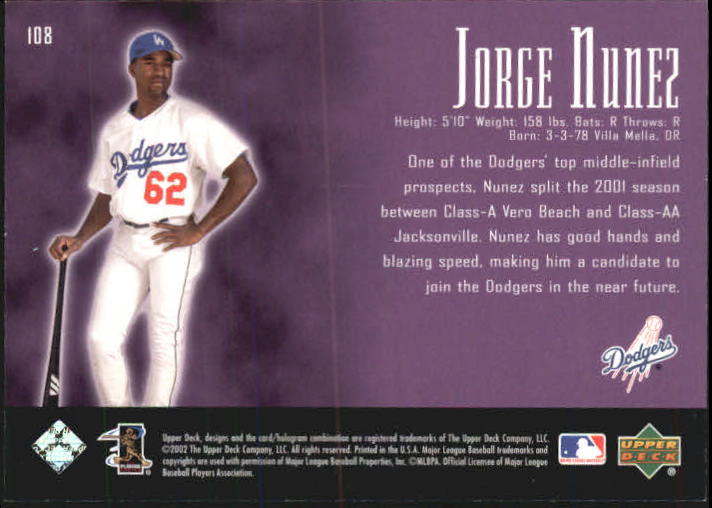 2002 UD Piece of History #108A Jorge Nunez 21CP RC back image