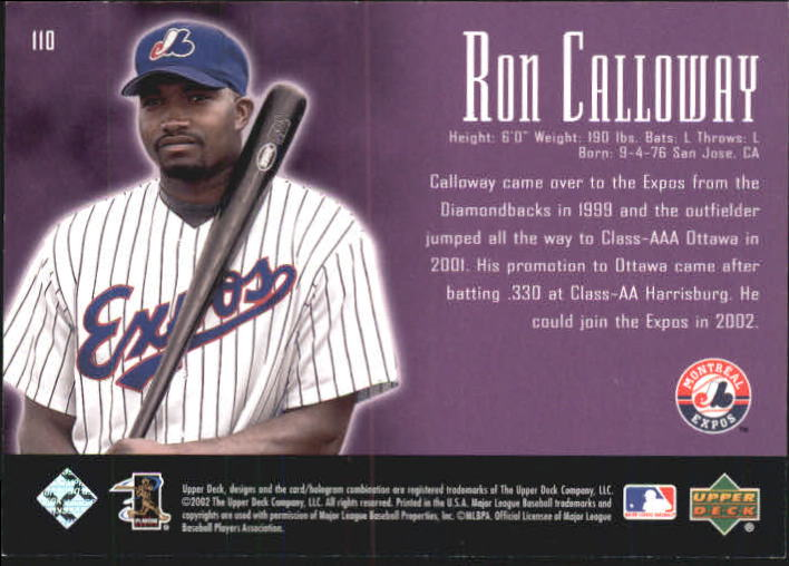 2002 UD Piece of History #110A Ron Calloway 21CP RC back image
