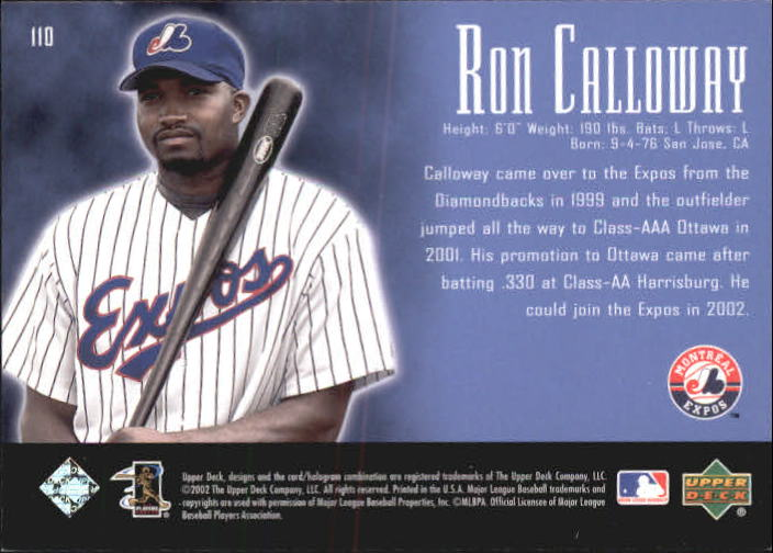 2002 UD Piece of History #110P Ron Calloway 21CP RC back image