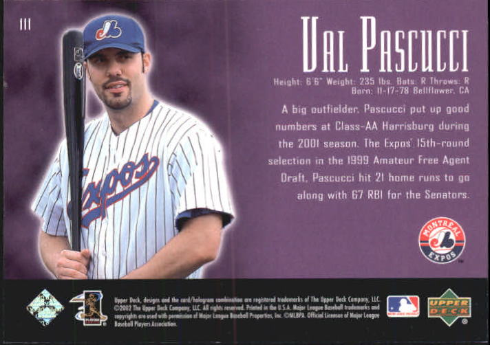 2002 UD Piece of History #111A Val Pascucci 21CP back image