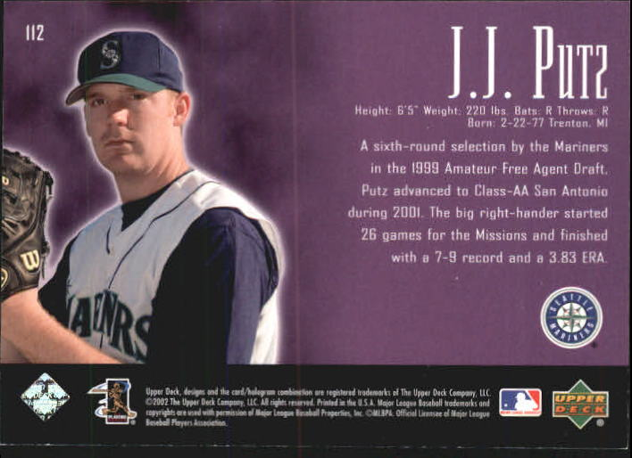 2002 UD Piece of History #112A J.J. Putz 21CP RC back image