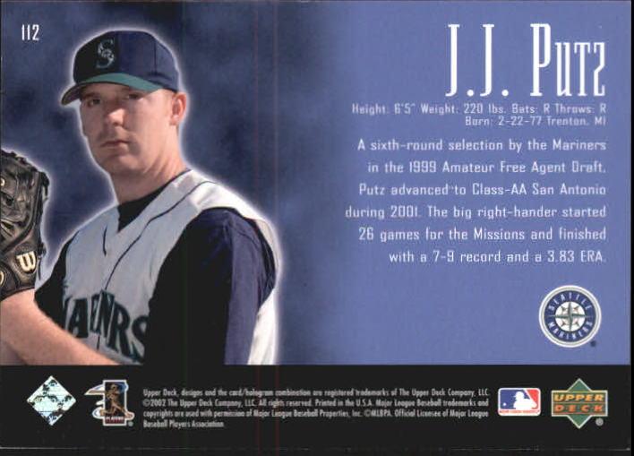 2002 UD Piece of History #112P J.J. Putz 21CP RC back image
