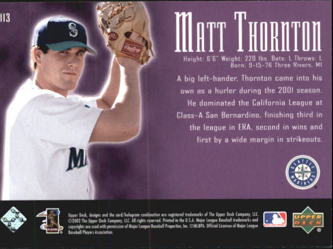 2002 UD Piece of History #113A Matt Thornton 21CP RC back image