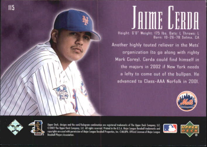 2002 UD Piece of History #115A Jaime Cerda 21CP RC back image