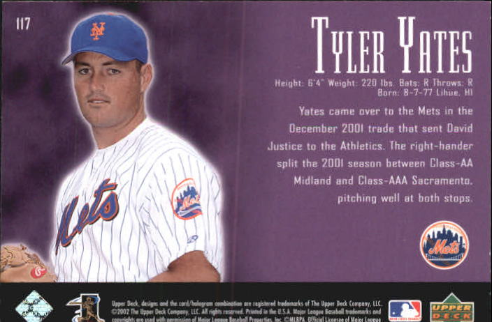 2002 UD Piece of History #117A Tyler Yates 21CP RC back image
