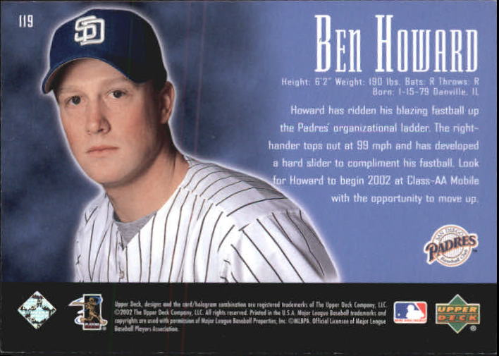 2002 UD Piece of History #119A Ben Howard 21CP RC back image