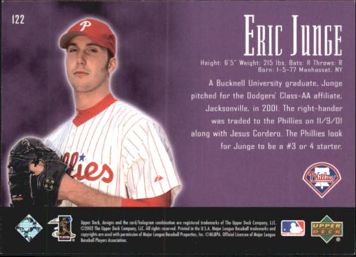 2002 UD Piece of History #122A Eric Junge 21CP RC back image