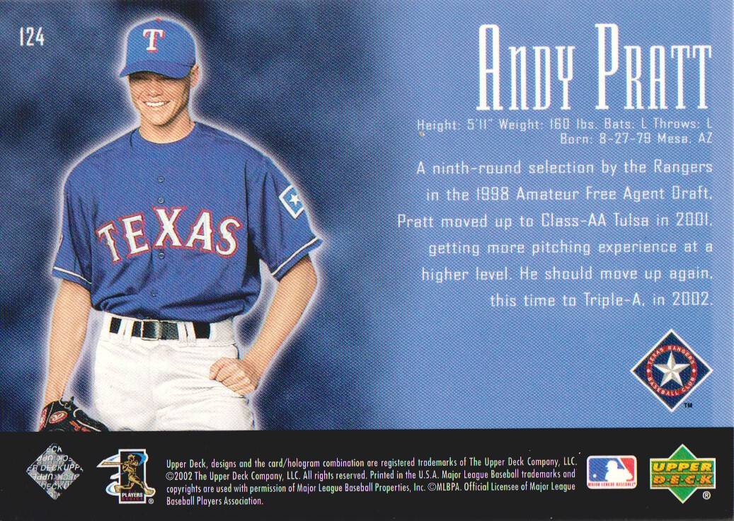 2002 UD Piece of History #124P Andy Pratt 21CP RC back image