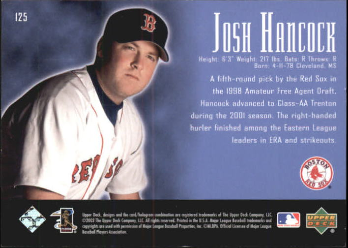2002 UD Piece of History #125P Josh Hancock 21CP RC back image