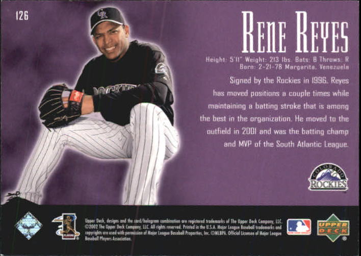 2002 UD Piece of History #126A Rene Reyes 21CP RC back image