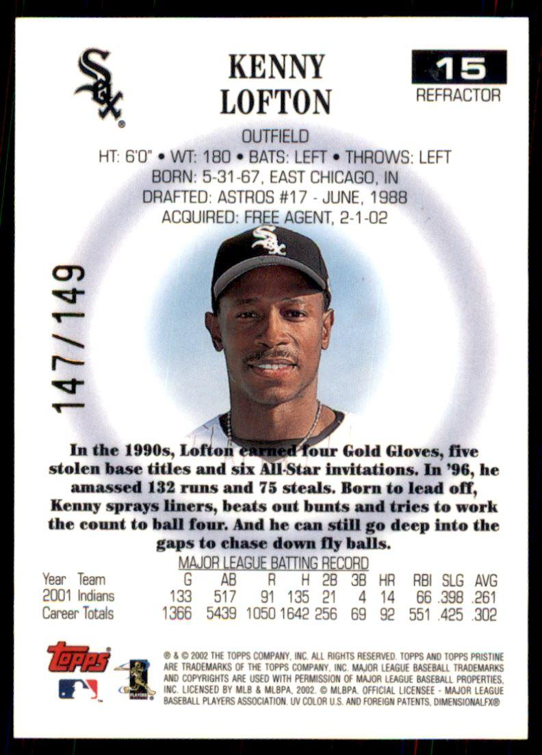 2002 Topps Pristine Refractors #15 Kenny Lofton back image