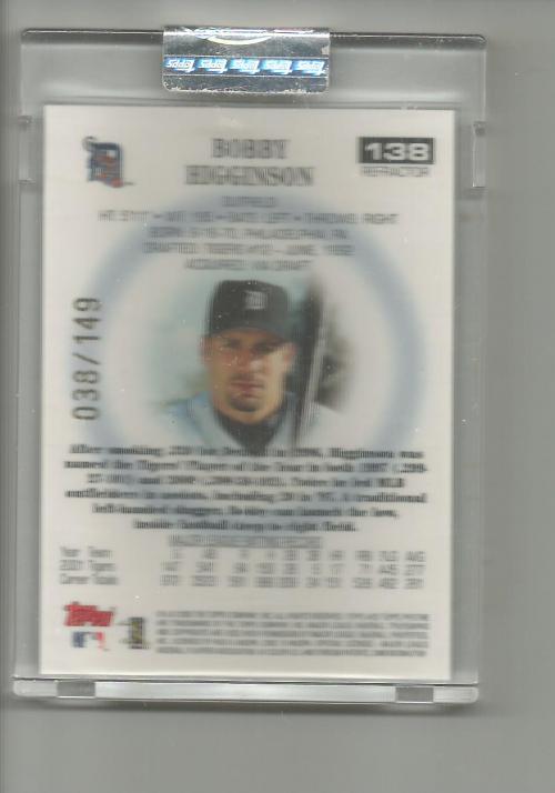 2002 Topps Pristine Refractors #138 Bobby Higginson back image