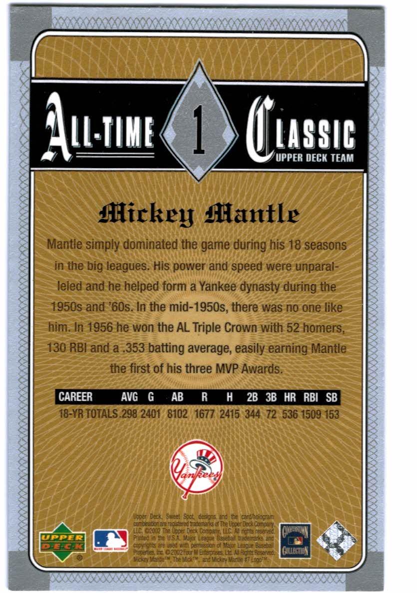 2002 Sweet Spot Classics #1 Mickey Mantle back image