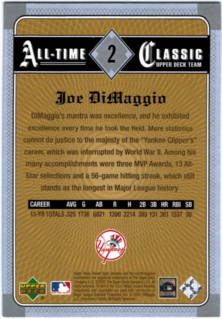2002 Sweet Spot Classics #2 Joe DiMaggio back image