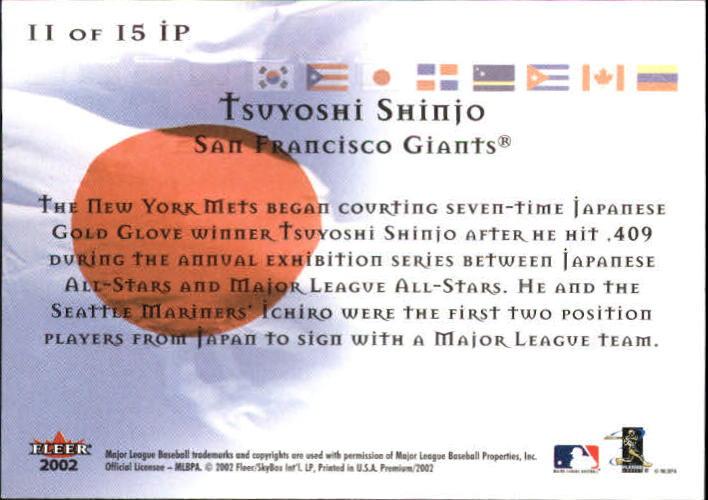 2002 Fleer Premium International Pride #11 Tsuyoshi Shinjo back image