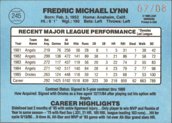2002 Donruss Recollection Autographs #34 Fred Lynn 86/8 back image