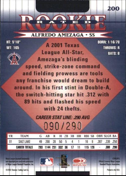 2002 Donruss Stat Line Career #200 Alfredo Amezaga RR/290 back image