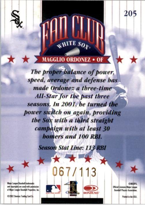 2002 Donruss Stat Line Season #205 Magglio Ordonez FC/113 back image