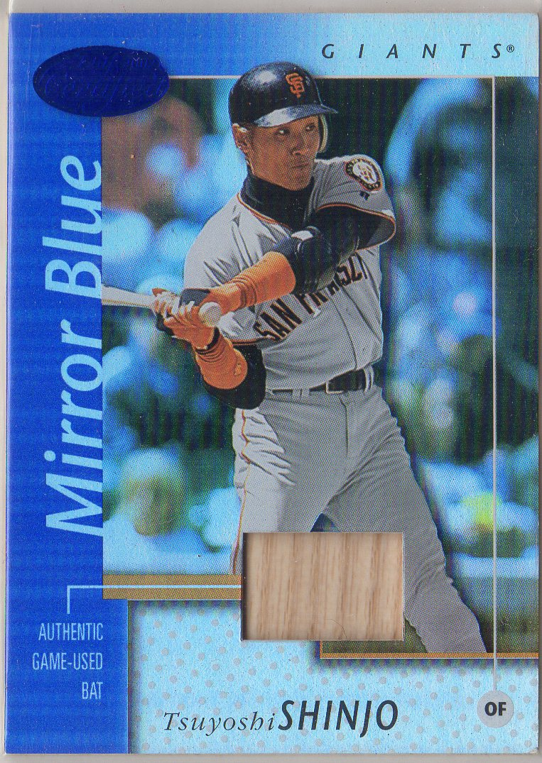 2002 Leaf Certified Mirror Blue #121 Tsuyoshi Shinjo Bat