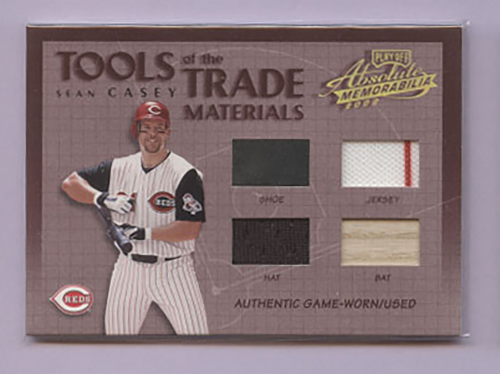 2002 Absolute Memorabilia Tools of the Trade Materials #TT89 Sean Casey Quad
