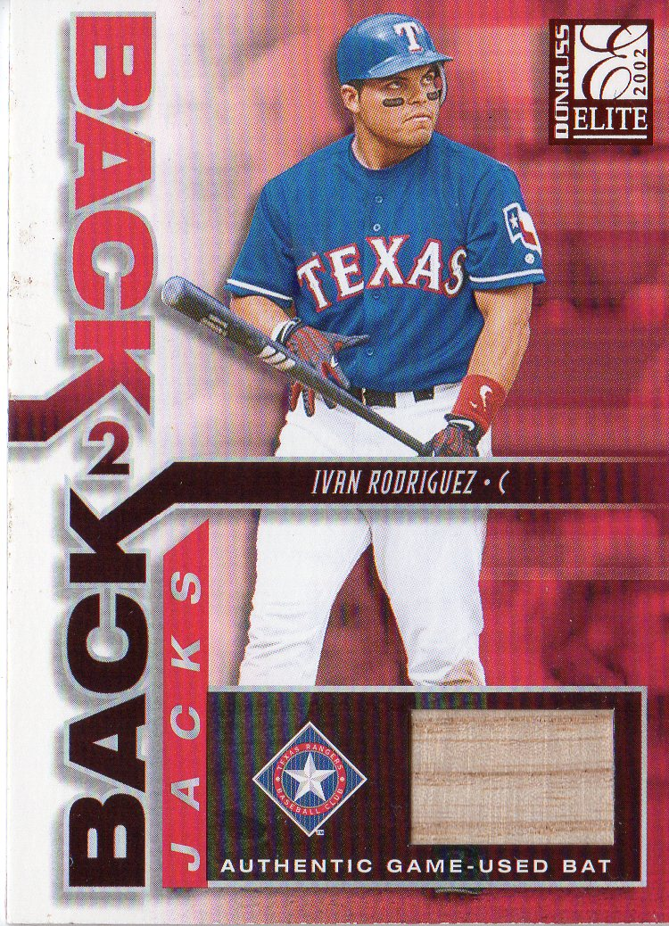 2002 Donruss Elite Back 2 Back Jacks #1 Ivan Rodriguez/Alex Rodriguez