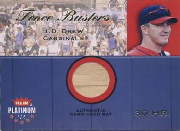 2002 Fleer Platinum Fence Busters #5 J.D. Drew/800