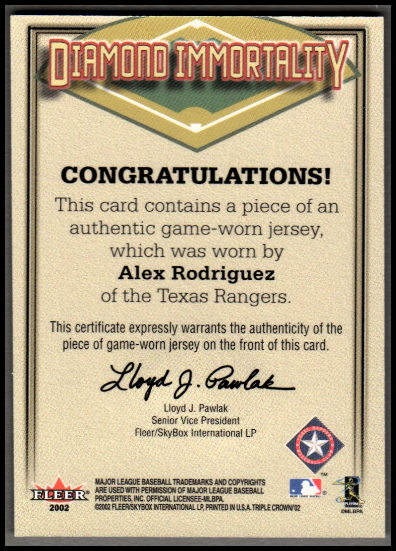 2002 Fleer Triple Crown Diamond Immortality Game Used #8 Alex Rodriguez Jsy SP/400 back image