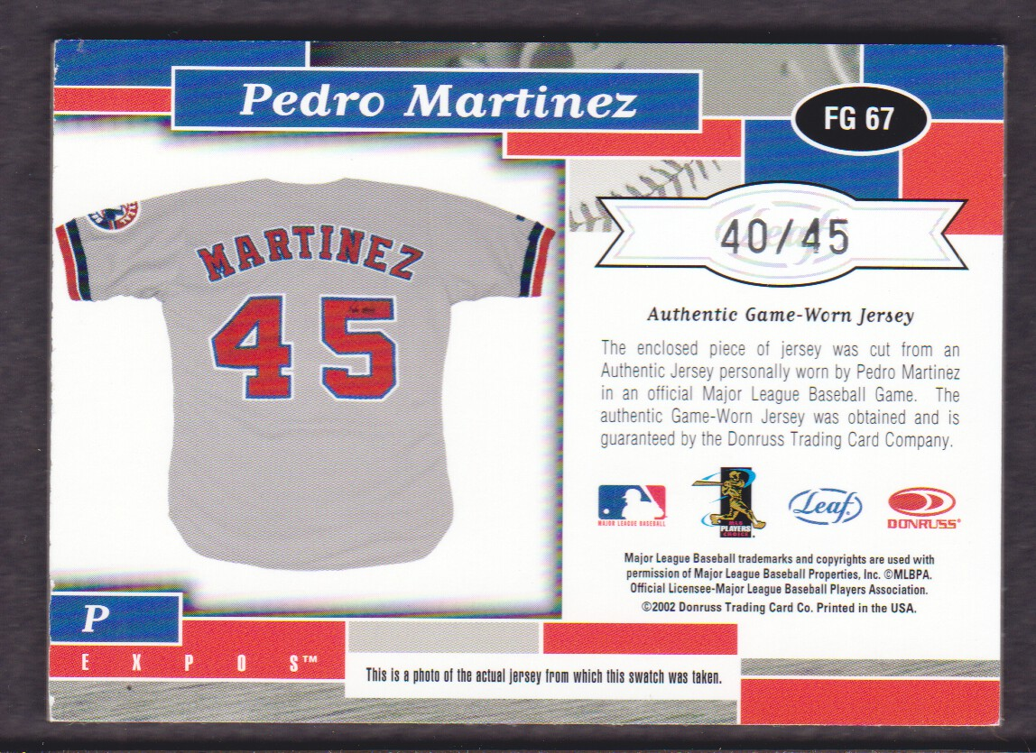 watch a3552 ca9e8 Details about 2002 Leaf Certified Fabric of Game #67JN Pedro Martinez Expos  JERSEY 40/45 Expos