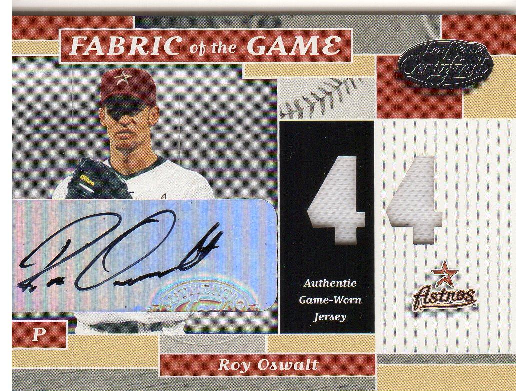 2002 Leaf Certified Fabric of the Game #127JNA Roy Oswalt AU/5