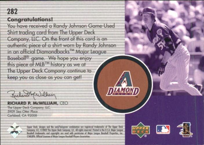 2002 Upper Deck Diamond Connection #282 Randy Johnson BLH Jsy back image
