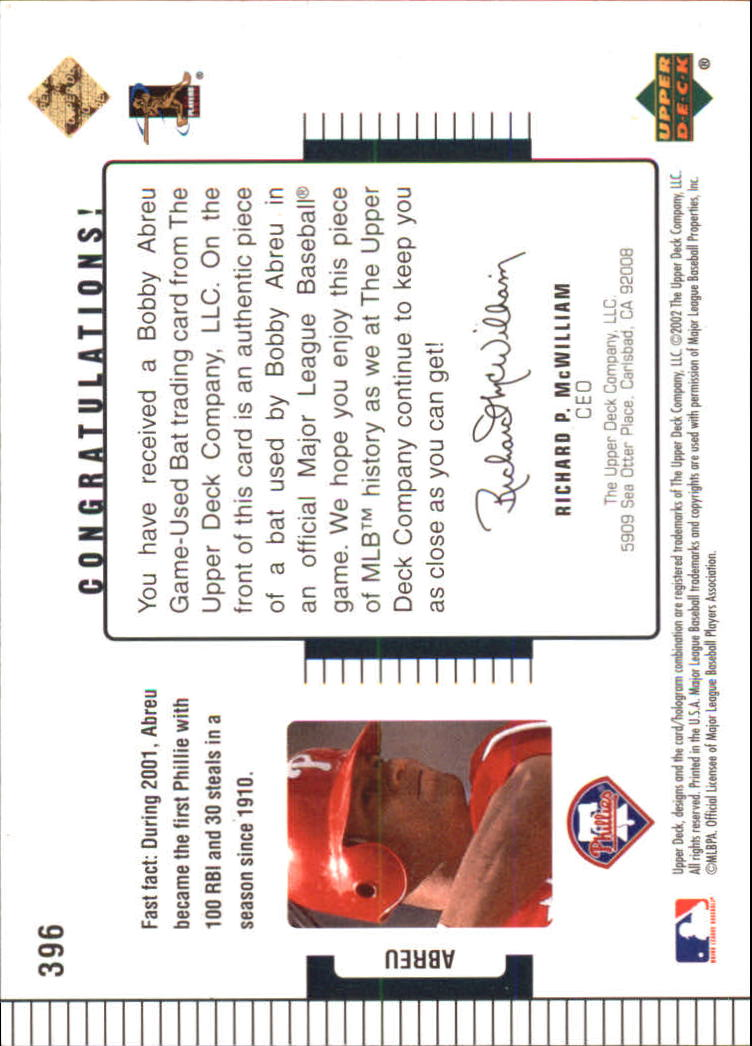 2002 Upper Deck Diamond Connection #396 Bob Abreu DC Bat back image