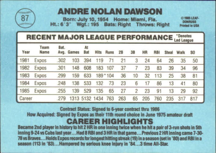 2002 Donruss Originals Embossed #31 Andre Dawson 1986/10 back image