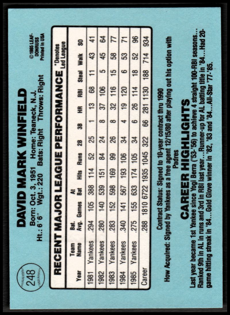 2002 Donruss Originals Embossed #104 Dave Winfield 1986/10 back image