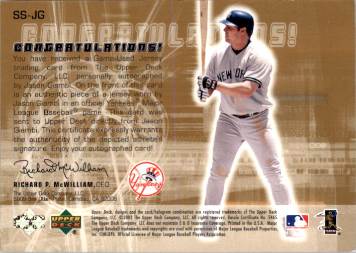 2002 Upper Deck Rookie Update Star Tributes Signatures Gold #JG Jason Giambi back image