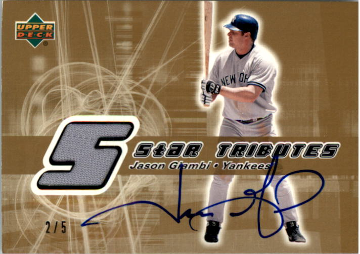 2002 Upper Deck Rookie Update Star Tributes Signatures Gold #JG Jason Giambi