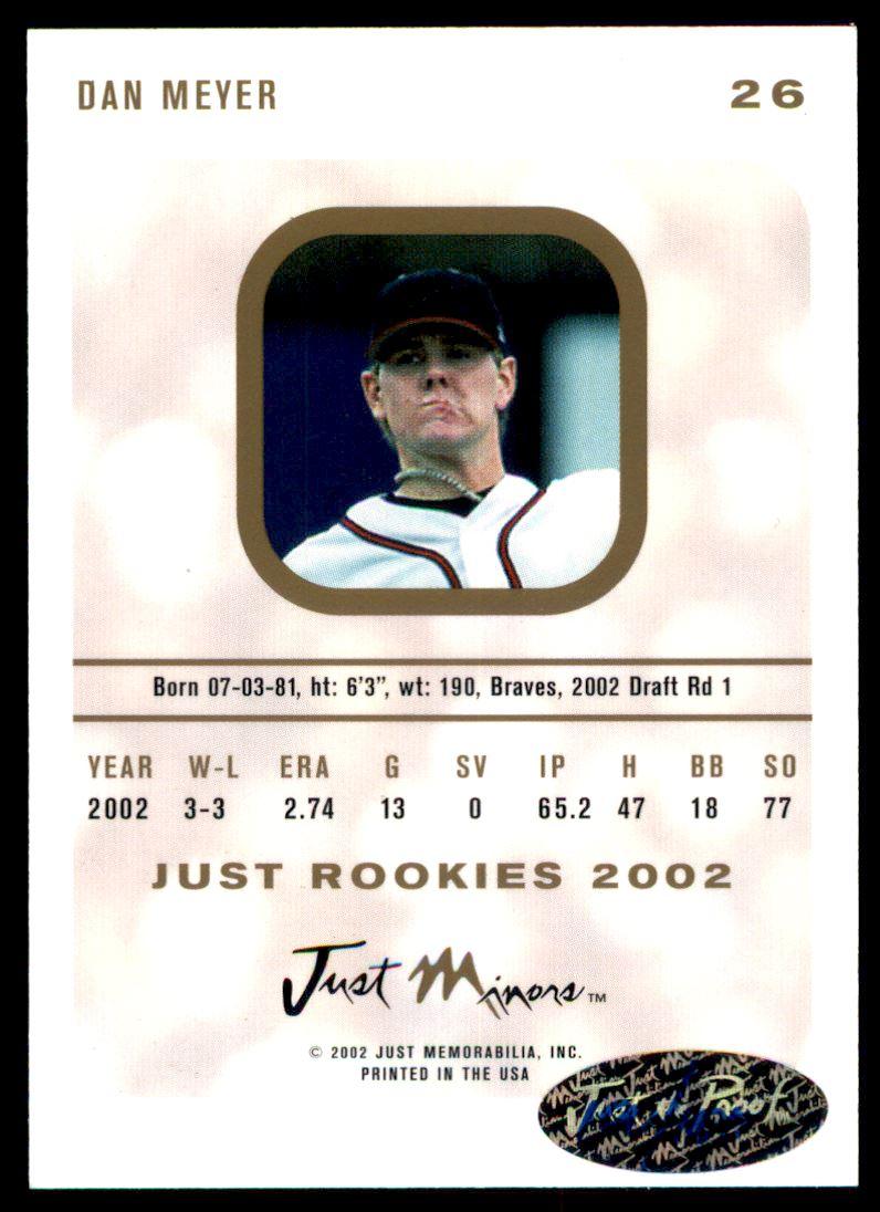 2002-03 Just Rookies Autographs #24 Dan Meyer/300 back image
