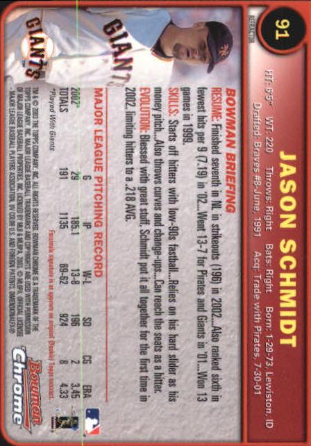 2003 Bowman Chrome Refractors #91 Jason Schmidt back image