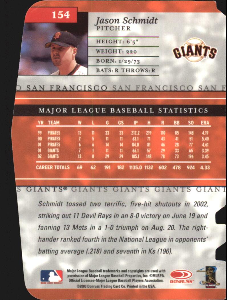 2003 Donruss Elite Status #154 Jason Schmidt/29 back image
