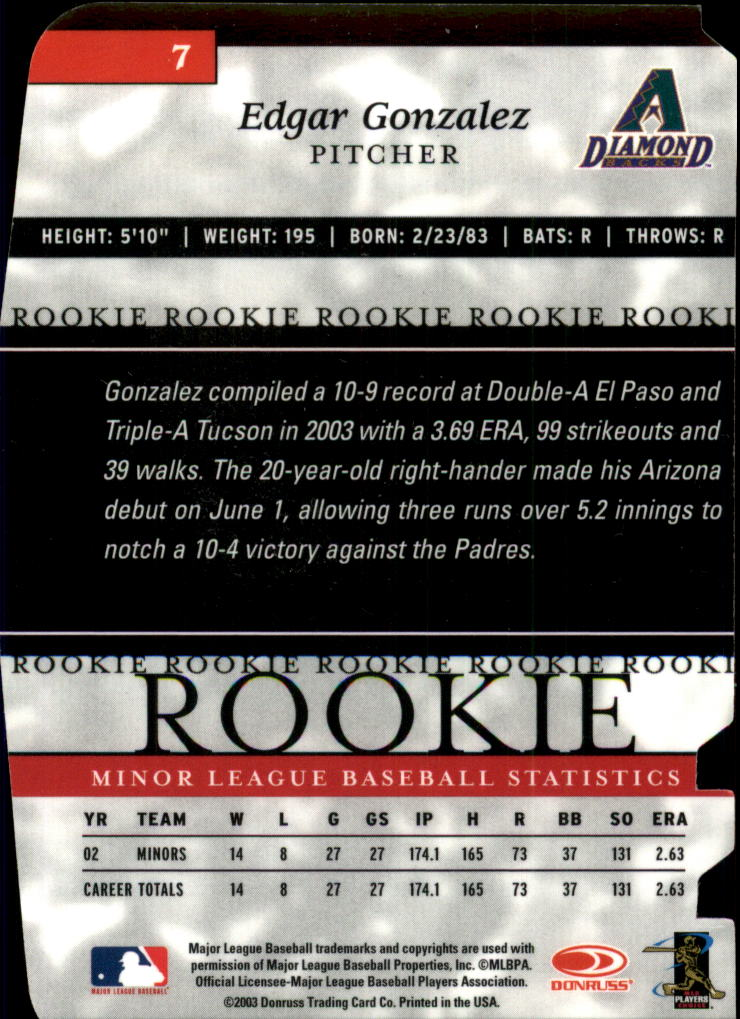 2003 Donruss Elite Extra Edition Status #7 Edgar Gonzalez/49 back image