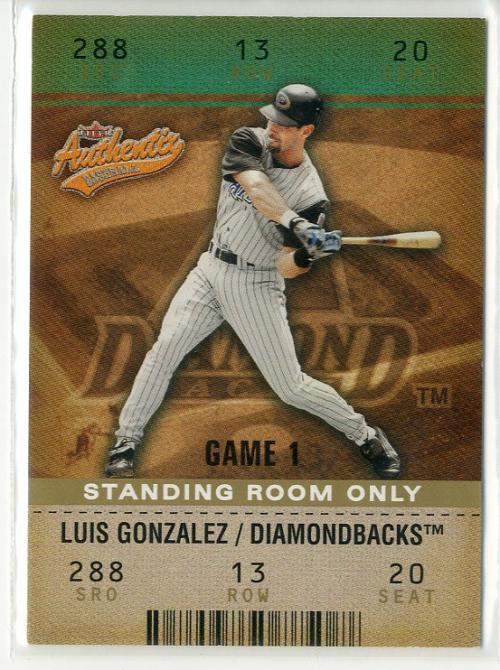 2003 Fleer Authentix Standing Room Only Baseball Card 8 Luis Gonzalez 25