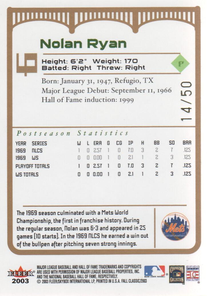 2003 Fleer Fall Classics Championship Gold #6A Nolan Ryan Mets back image