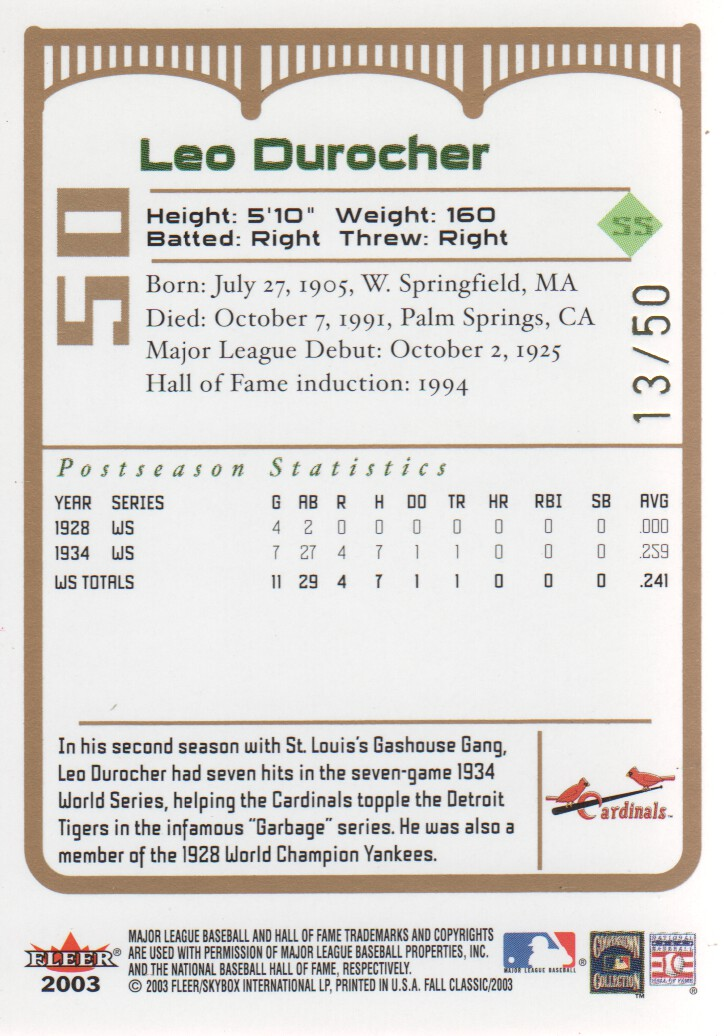 2003 Fleer Fall Classics Championship Gold #50A Leo Durocher Cards back image