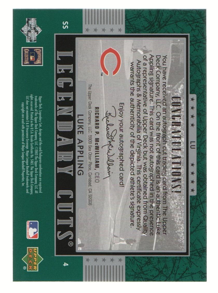 2003 SP Legendary Cuts Autographs Green #LU Luke Appling/5 back image