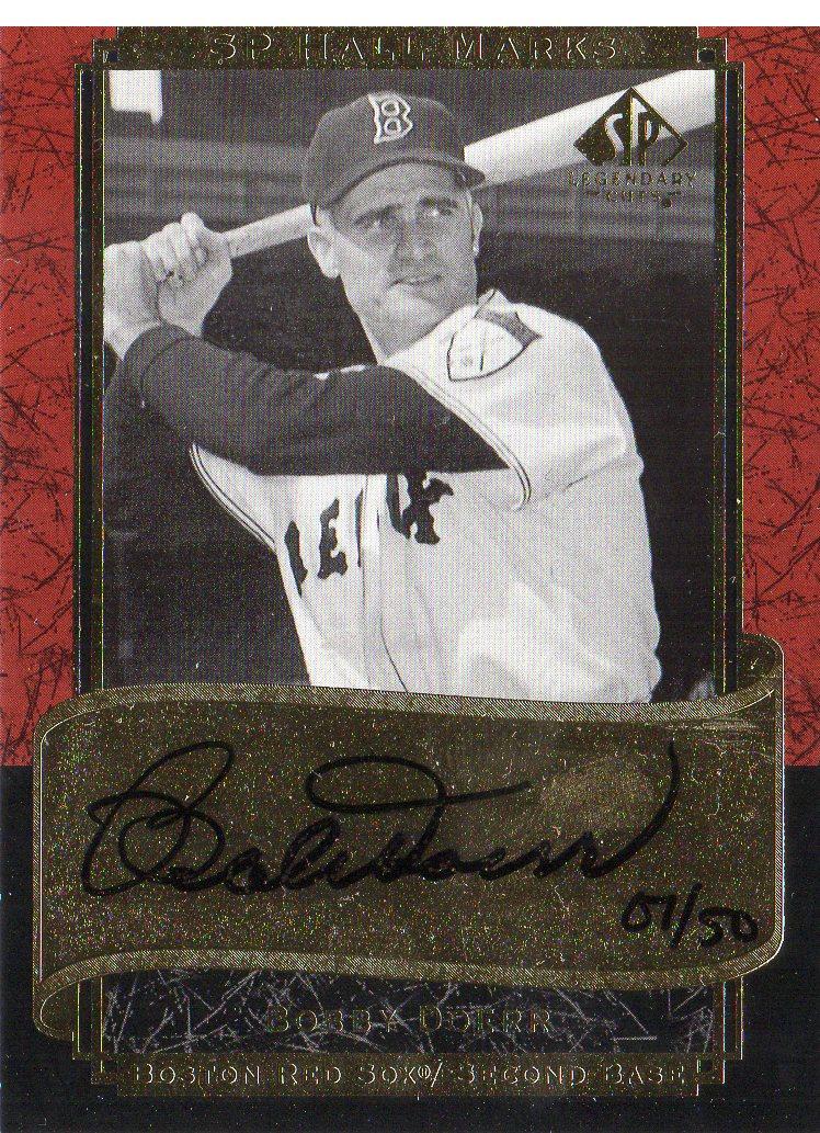 2003 SP Legendary Cuts Hall Marks Autographs #BD1 Bobby Doerr Black/50
