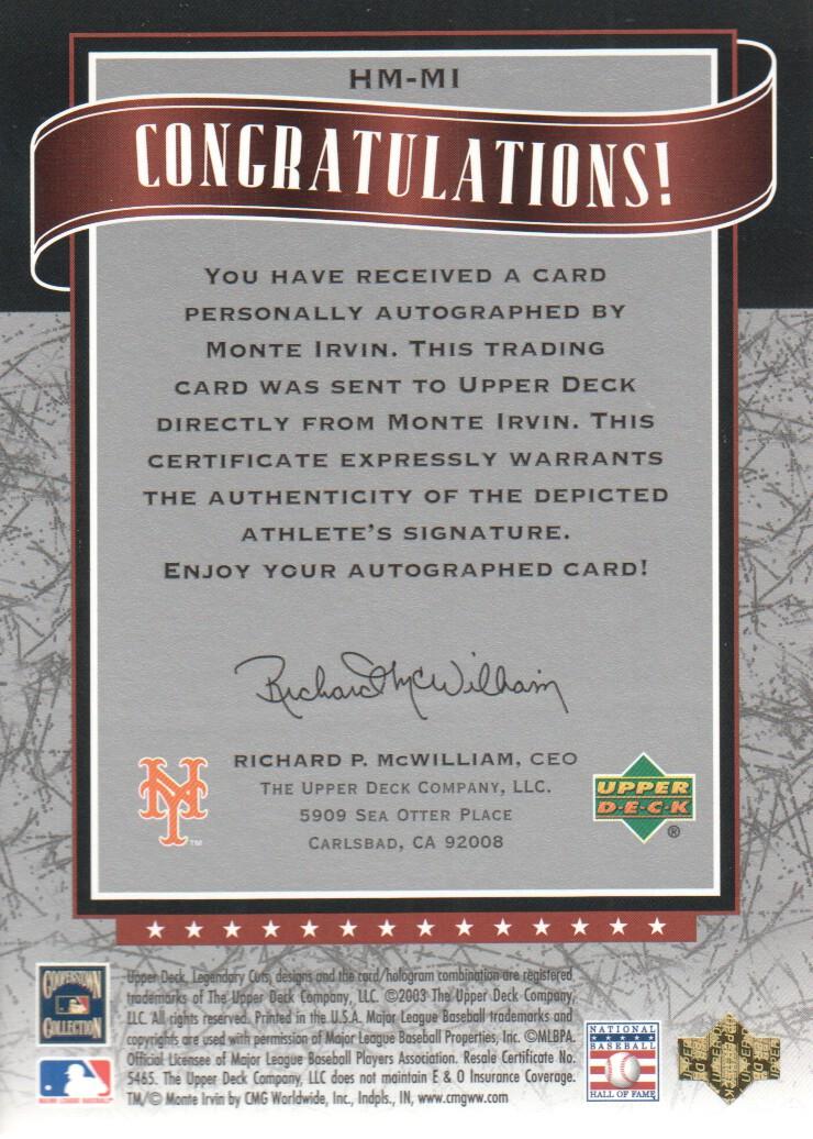 2003 SP Legendary Cuts Hall Marks Autographs #MI1 Monte Irvin Black/85 back image