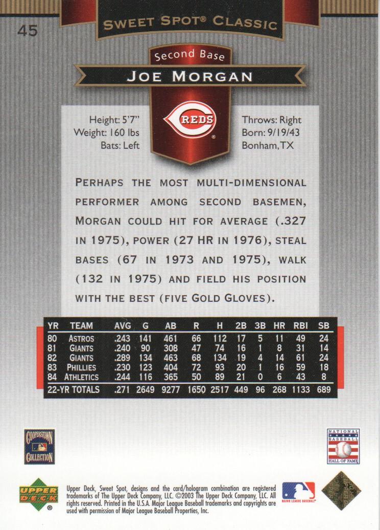 2003 Sweet Spot Classics #45 Joe Morgan back image