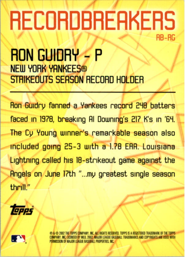 2003 Topps Record Breakers #RG Ron Guidry 1 back image